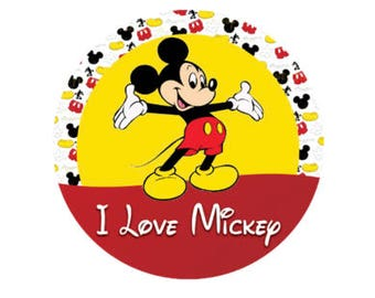I love Mickey Mouse Button - Mickey Mouse Inspired Park Button - Theme Park Button - Mickey Pin - Lanyard Button