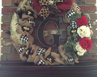 MacKenzie Childs inspired Burlap Wreath with Monogram