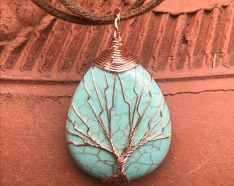Turquoise Copper Wrapped Tree of Life Pendant