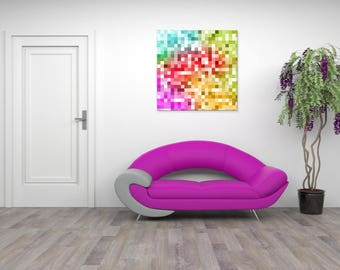 Painting abstract pixel wall painting, digital art