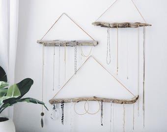 Hanging Wood Wall Driftwood Necklace Decor Organizer/Holder