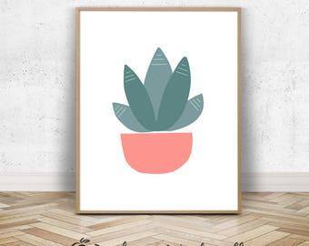 Cactus Succulents Desert Home Decor   Modern Coral Mexican Kitchen Tropical Artwork   Green 16x20 Botanical Nursery Print Download