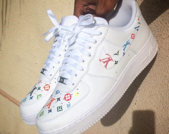 Custom Nike Air Force 1 - Multicolor LV Monogram Print