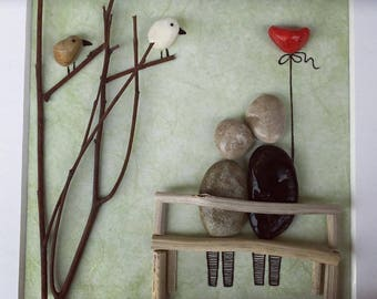 Pebble wall decoration - Home decoration with pebbles