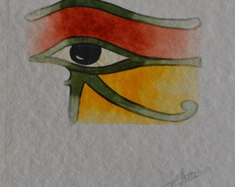 "1 card ""eye of Horus, eye of Horus"" watercolor painting Opal isis on Etsy"