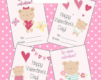 Teddy Bear Valentine's Day Cards *PRINTABLE* - Set of 4