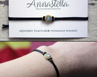 Adjustable Swarovski Rhinestone Bracelet - Satin Cord- 4 Color Options - Dainty/Minimalist Jewelry - Holiday Gift - Slide Back Closure