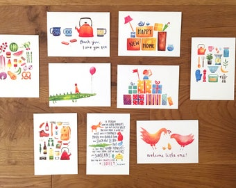 Pack of 4 illustrated greetings cards. Pick 'n' mix card set, thank you, birthday, children's, new home, blank gift cards
