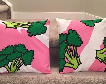 Fun broccoli themed accent pillows
