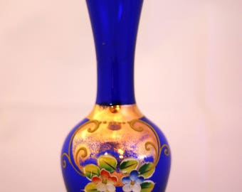 Vintage Czech/Bohemian Cobalt Vase with Gold and Floral Hand Painted Design