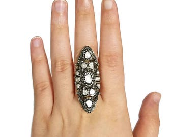 Diamond Ring with Polki in Sterling Silver, Statement Ring, Victorian Ring, Large Ring, Polki Ring, Vintage Ring, Polki Diamond Ring/C-927