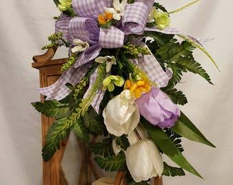 Lantern Swag, Lantern Swag for Spring, Lantern Swag for Everyday, Purple & White Tulips Lantern Swag, Lantern Swag w/Tulips