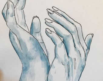 Limited Watercolour of hands Print