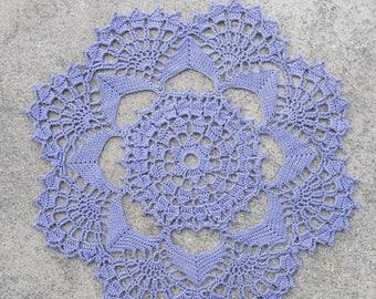 Delicate Lavender Flower Crochet Doily