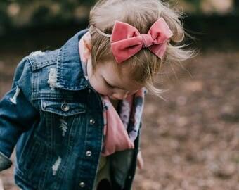 Large - Pink Rose - hand tied - velvet bow - baby - toddler - little girl - hair clip - nylon headband - Adidlyn Style