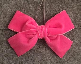 Large HOT PINK • oversized • hand tied • velvet bow • baby • toddler • little girl • hair clip • nylon headband • ADDILYN style