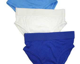 PBC Boys' Underwear Classic Briefs 3-Pack Assorted 100% Organic Cotton