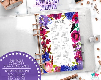 Printable Calendar A5 A4 Letter Watercolor Planners 2018-2019 Year at a Glance | Berries and Navy Floral Collection | BNCYG1819