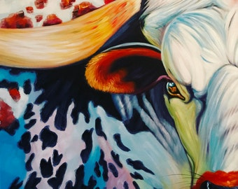 The Lawman Longhorn cow oilpainting