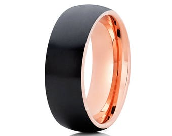 Black Zirconium Wedding Band Men & Women 14 Rose Gold Ring Brush Style Matte Finish