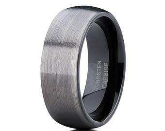 Tungsten Wedding Band Gunmetal Tungsten Wedding Ring Men & Women Tungsten Carbide Ring Dome Tungsten Ring Brush