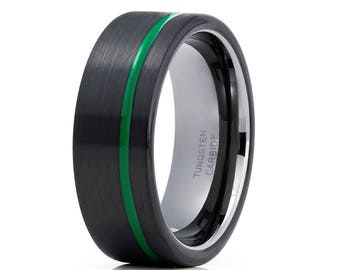 Green Tungsten Wedding Band Offset Groove Gunmetal  Tungsten Ring Men & Women Black Tungsten Ring Comfort Ring Brush