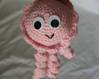 Pink Hand-Crochet Jellyfish
