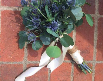 Fresh Thistle and Eucalyptus bouquet, Wedding Bouquet, Eucalyptus bouquet, Blue Wedding, Blue thistle, Eucalyptus, Gray wedding, Rustic