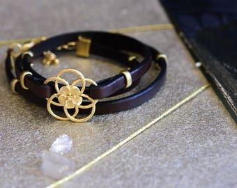 Wrap leather bracelet, Leather bracelet for women, Brown leather bracelet, Brown wrap bracelet, Brown gold bracelet, Brown bracelet women