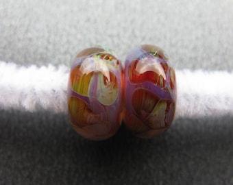 BORO Lampwork Beads Pair, Lampwork Pair, BORO Pair, Yellow, Green, Purple, Topaz, Ivory, Handmade Lampwork Pair, Artisan Lampwork - HGD1476