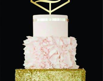Geometric Cake Topper L letter L Wooden Monogram Wedding Cake Topper Initial Cake Topper Personalized Wedding Cake Topper Letter A B C D E F