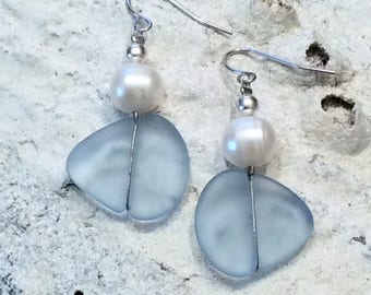 Icy Blue Sea Glass Earrings with Fresh Water Pearls, Sea Glass, Recycled Glass, Eco Glass