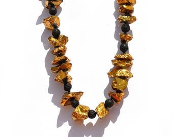 Raw Golden crystal and black Lava Rock Necklace//gift for her