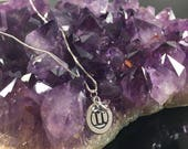 Gemini Hand-stamped Minimalist Sterling Silver Alkeme Quartz Crystal Zodiac Pendant Necklace