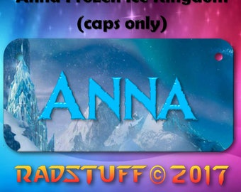 "Child's Bike Plate 3""x 6"" Anna Frozen Ice Kingdom Design Blue Customized Name"