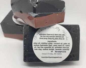 Activated charcoal & Rose Clay Facial Soap with Tea Tree Essential Oil , Lavender Essential Oil with Neem Seed Oil