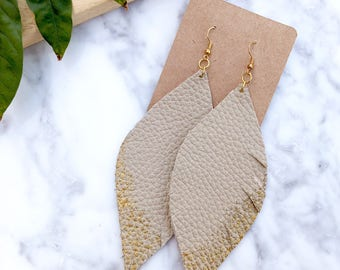 Beige and Gold Leather Feather Earrings, Beige Leather, Leather Earrings, Leather Jewelry, Statement Earrings, Lightweight Feather Earrings