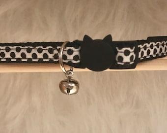 "White Polka Dot Cat Collar- ""Dotted Up""- Breakaway Cat Collar / Kitten Collar"