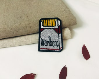 cigarette patches-Marlboro patch- patch-iron on patch -embroidered patch -patch for jacket -DIY-high-quality