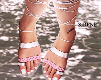 Sandals Women's,Women's Sandals,Leather Sandals,Handmade Sandals,Lace up Sandals,Gladiators,Ladies Sandals,Silver Sandals, SIRENE