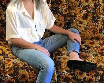 Vintage Sheer Pale Yellow Short-Sleeved Blouse | Vintage Shirt | M