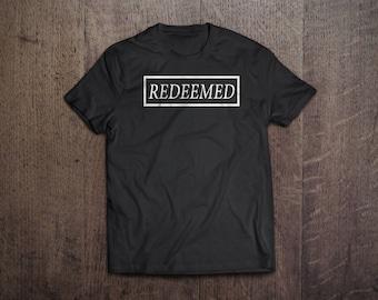 Woman's Redeemed Christian T-Shirt, Jesus T-Shirt, Rleigious Handmade Cotton