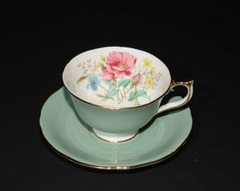 AYNSLEY, Vintage, Jade green, Teacup and Saucer, 28, Green Tea Cup, Bone China, Gold Rimmed, Floral, Sage Green, White Foot,Turquoise teacup