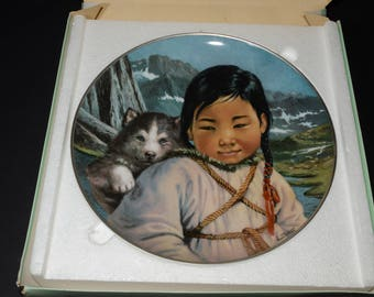 People of the Midnight Sun series, Nori Peter artist, collectible plate, Staga - my friend, Kaiser Porcelain, native people, 1980s