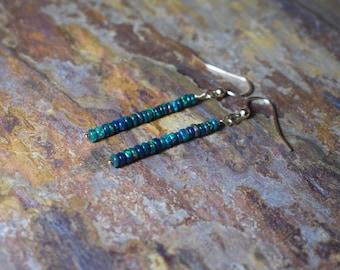 Black Opal Earrings, Black Fire Opal & 14k Gold Fill Gemstone Drop Earrings, Natural Opal Dangle Earrings, Handmade Opal Jewelry, Wife Gift