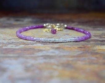 Ombre Pink Ruby & 14k Gold Filled Gemstone Bracelet, Natural Ruby Jewellery, Genuine Ruby Bracelet, Handmade Jewellery UK, Gift for Sister