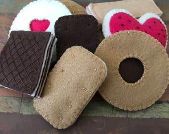 Felt Tea Cookie Set - Felt Cookie Set - Felt Wafer Cookies - Felt Biscuits