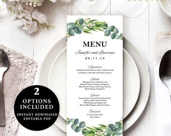 Green Leaves Menu Template, 4x9, 5x7, Instant Download Printable, Editable PDF, EWMN002