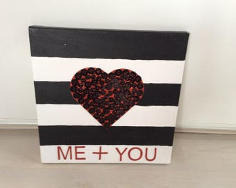 "Paintings ""ME + YOU"" with heart and buttons"