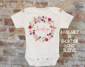 Pink Mint Wreath Custom Baby Onesie®, Personalized Onesie, Custom Baby Outfit, Rustic Style Onesie, Boho Baby Onesie - 420J